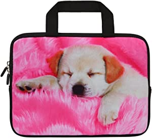 HAPPYLIVE SHOPPING Pink Dog 11 11.6 12 Inch Multi-Color Water-Resistant Laptop Sleeve Bag with Handle/Notebook Computer Case/Ultrabook Briefcase Carrying Bag