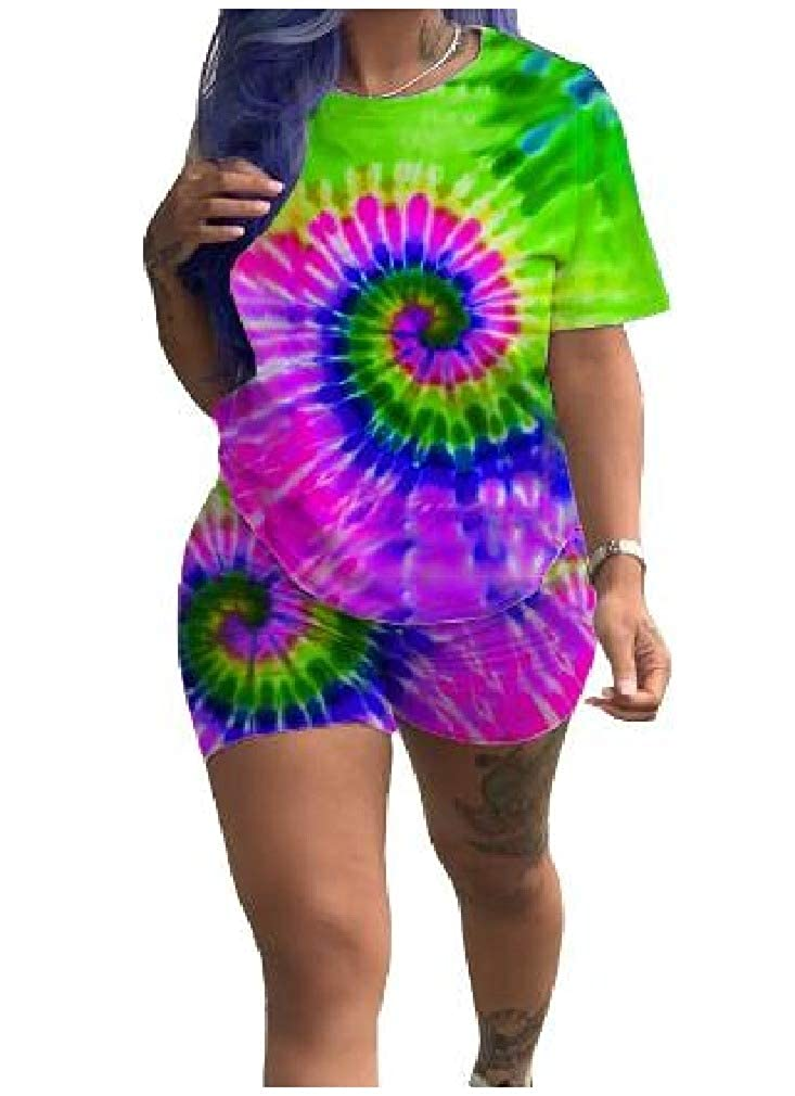 Zimaes-Women Short Sleeve Two-Piece Digital Printed Tie-Dyed Playsuit Shorts Rompers