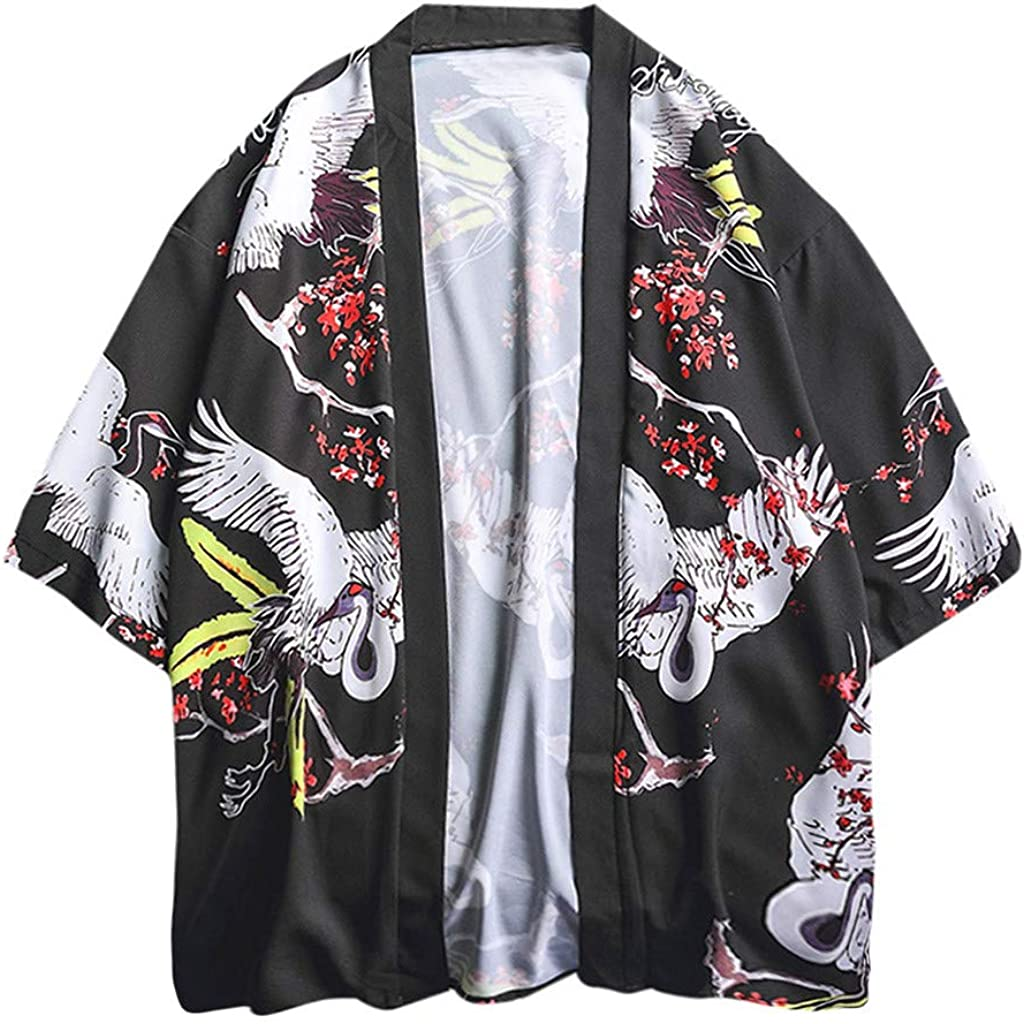 , Lazzboy Uomo Unisex Lovers Character Stampa Top Camicetta Kimono Hot Spring Spa Cover-up Beach Shrug