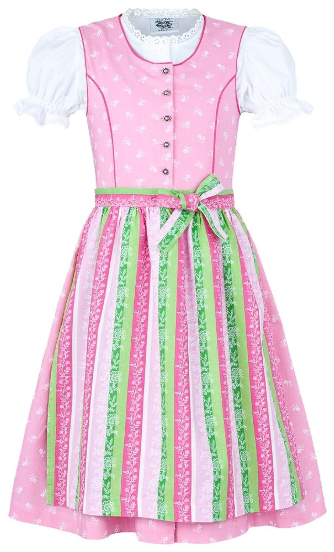 Isar Trachten Kinder Dirndl Nicole 3-tlg. - Rosa - Mädchen Kleid mit Bluse und Schürze