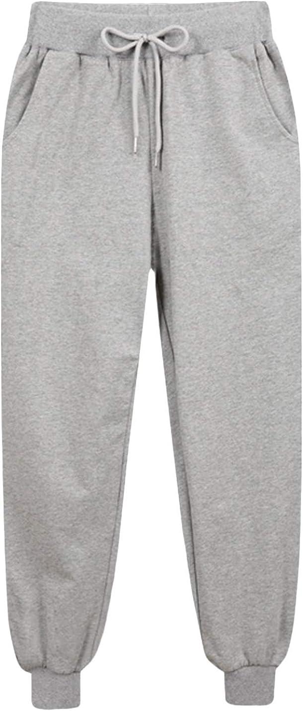 Yaolor Men Casual Velvet Thicken Fleece Closed-Bottom Solid Training Running Pants