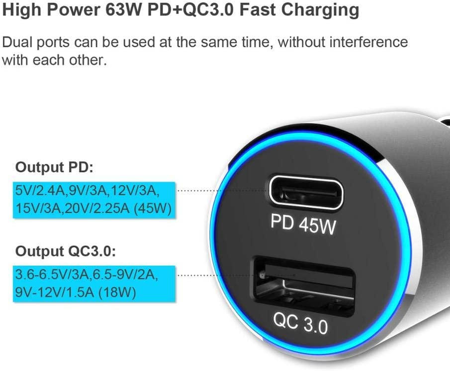 PD 45W Type C to Lighting Cable Car Charger with LED Light Adapter for iPhone 11//11 Pro//11 Pro MAX//XS//MAX//XR//X//8//7//6//Plus iPad Arrow Car Charger 63W Quick Charge 3.0 Qualcomm Certified QC 3.0 18W
