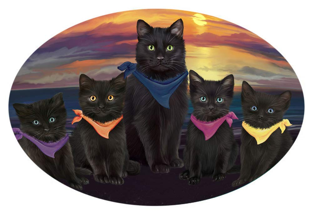 Doggie of the Day Family Sunset Portrait Black Cats Oval Envelope Seals OVE65920 (20)