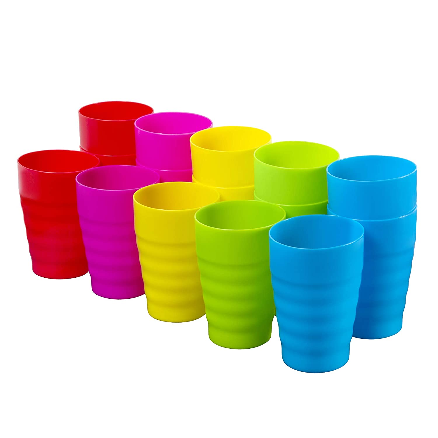 Plaskidy Kids Cups - Set of 15 Reusable Plastic Cups- 15 oz Drinking Cups for Kids - BPA Free Cups Top Rack Dishwasher Safe Cups - Assorted Colored Cups - Great Plastic Cups For Kids - Party & Picnic