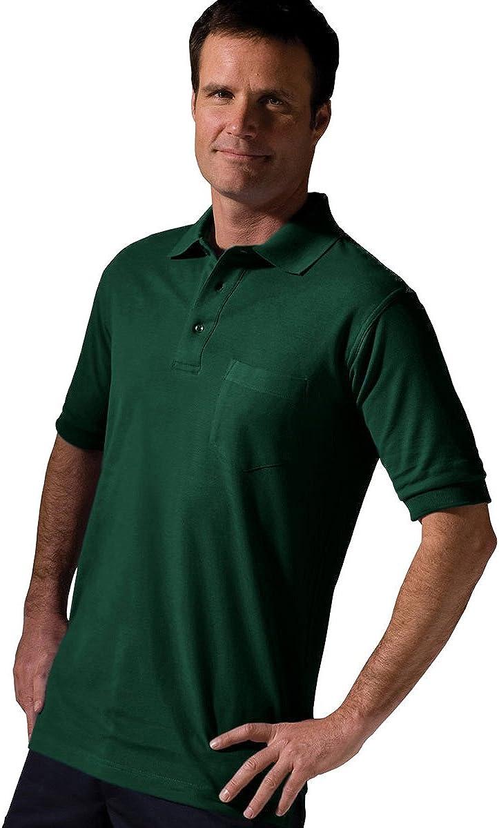 Ed Garments Short Sleeve Pique Polo Pocket Shirt Large HUNTER