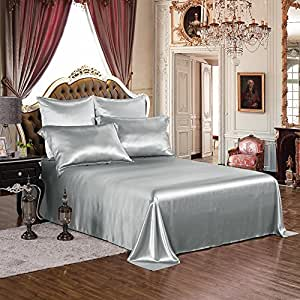 THXSILK 4pcs Silk Sheets Set 100% 19mm Mulberry Silk Embroidery Luxury Bed Linen (Silver, King)