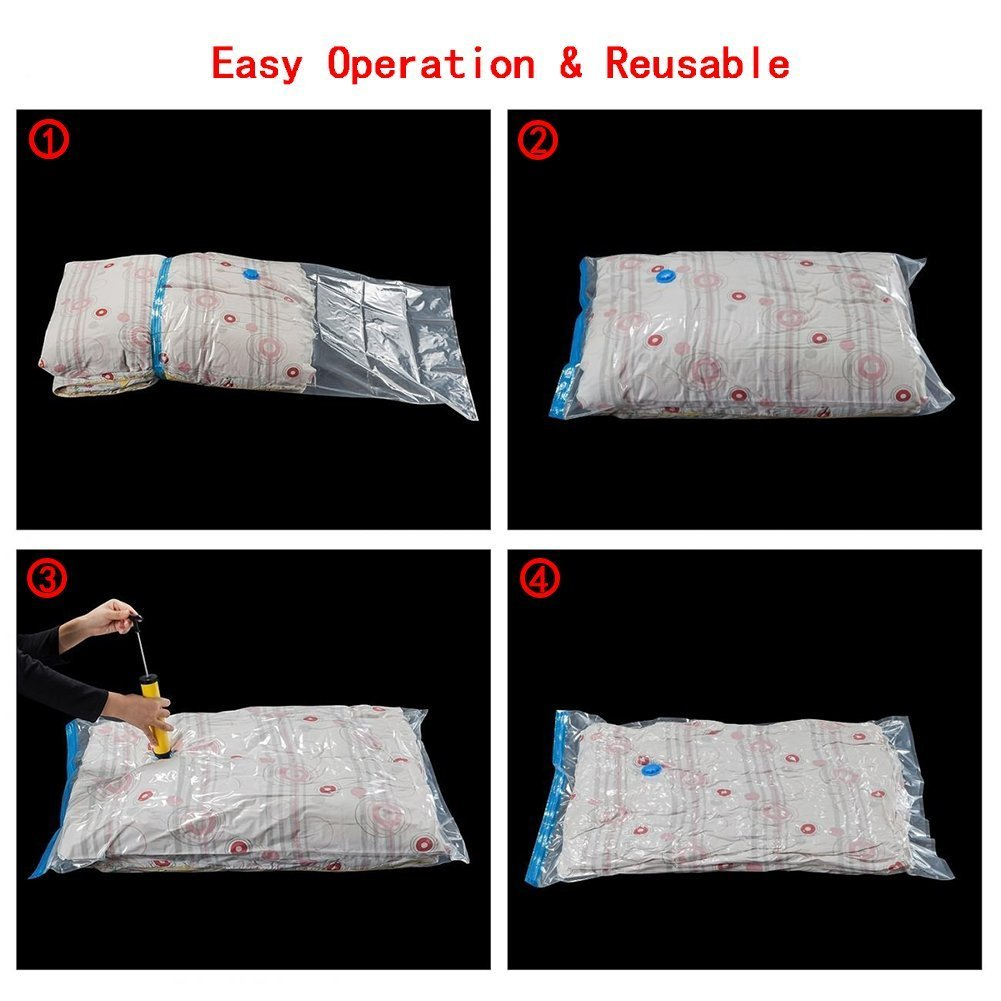 towels and more! blankets 3L+2M+3S BOUYA 8 Pack Premium Compressed Storage Bags Travel Space Saver Double-Zip Seal with Free Hand-Pump Perfect for Clothing,bed sheets