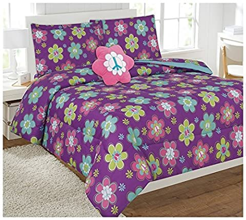 Kids 6 Piece Comforter Set Twin Size Printed Bed In a Bag with Sheet Set & TOY Pillow Included (Purple Flower)
