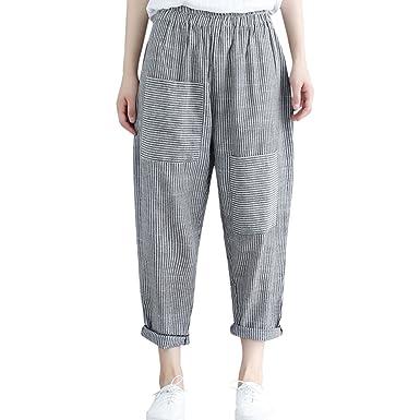 505d1f8e2154 Amazon.com  iYBUIA 2018 New Stripe Loose Casual Harem Pants Women High  Waist Elastic Waist Ankle-Length Pants Trousers  Clothing