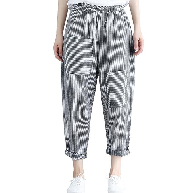9f584e40b836 SOMESUN Pantaloni Larghi Alla Caviglia Casual a Vita Alta Con Elastico In  Da Donna Elasticizzati Taglie
