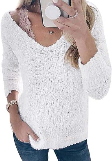 Luckycat Jersey Punto Mujer Camiseta Manga Larga Sueter Invierno Jersey Rayas Basico Suelto Jerseys Camisa Tops Pull-Over Suéter Mujer Primavera Otoño: Amazon.es: Ropa y accesorios