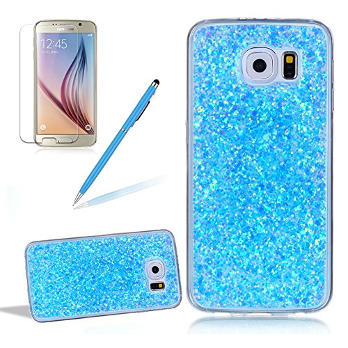 Glitter Case for Samsung Galaxy S6 Edge,Girlyard Crystal Crystal Luxury Bling Shinning Design Soft TPU Ultra-thin Flexible Rubber Transparent Bumper Shockproof Resistant Protective Phone Case for Samsung Galaxy S6 Edge -Blue