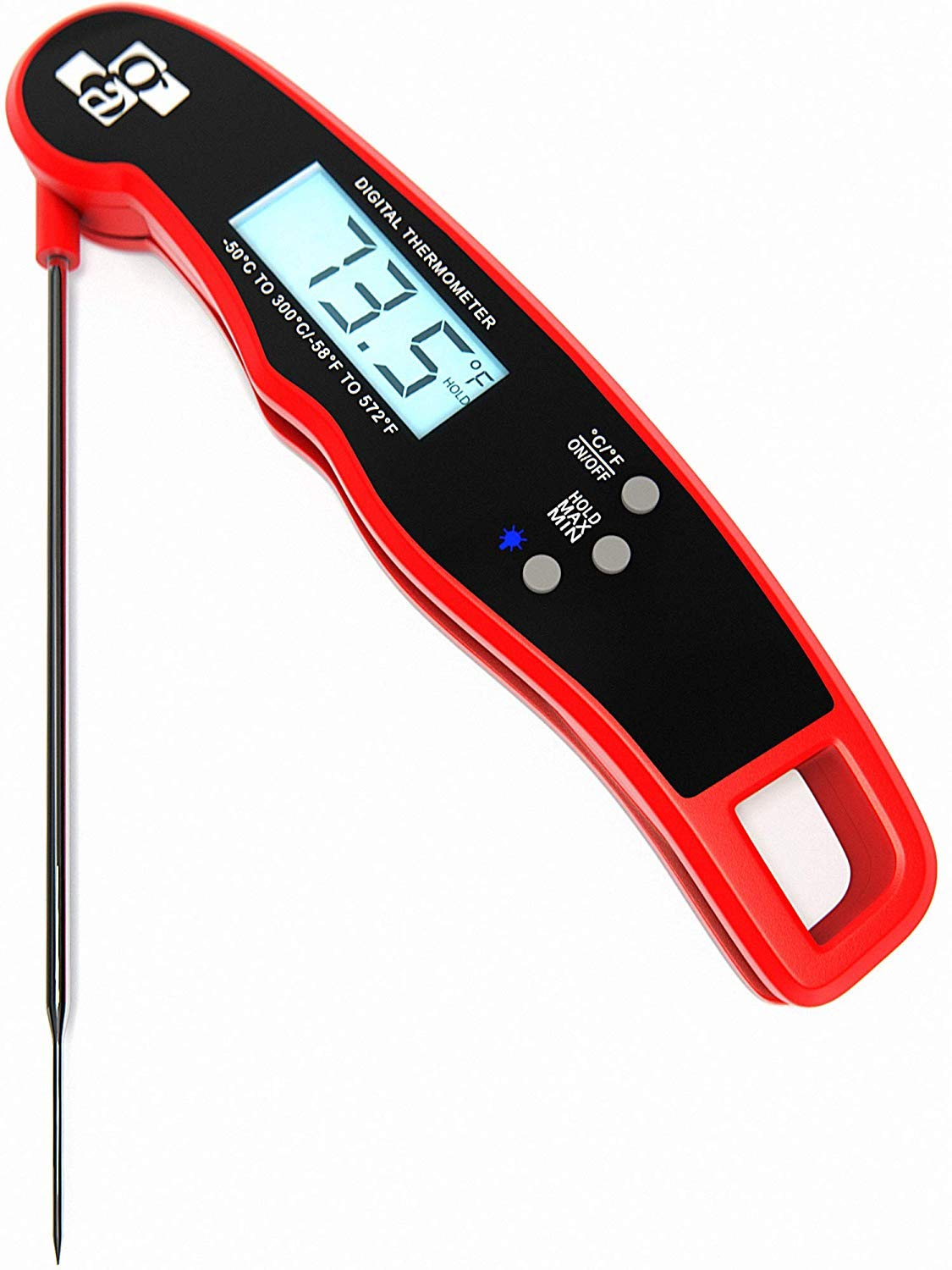 Digital Meat Thermometer Instant Read - Ultra Fast IP67 Waterproof Food Thermometer - Outdoor Cooking Thermometer for Grill BBQ - Folding Metal Kitchen Grilling Thermometer