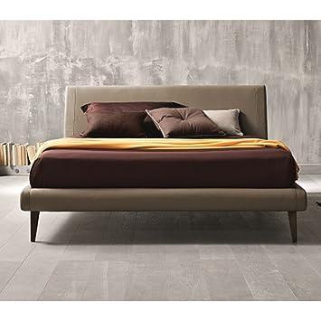 J And M Furniture 18086 K King Size Metropolitan Platform Bed With Taupe Eco Pelle