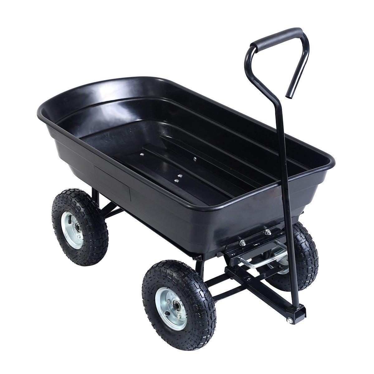 EAZYGOODS Garden Dump Cart 75L 300 kg Wheelbarrow Tipping Trolley Utility Truck Trailer Black