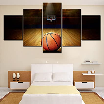 Good Canvas Wall Art HD Printed Basketball Course Painting Wall Pictures Themed  For Gym Decor Painting Home