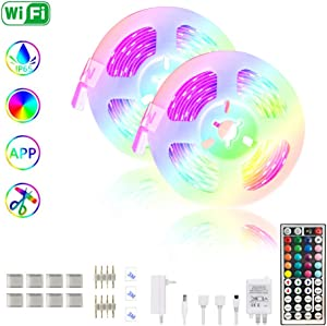 LED Strip Lights,32.8ft RGB Rope Light Strip Kit with Remote and APP Controlled for Home Lighting,Ceiling, Bedroom Decoration, Strong 3M Adhesive Cutting Design Waterproof