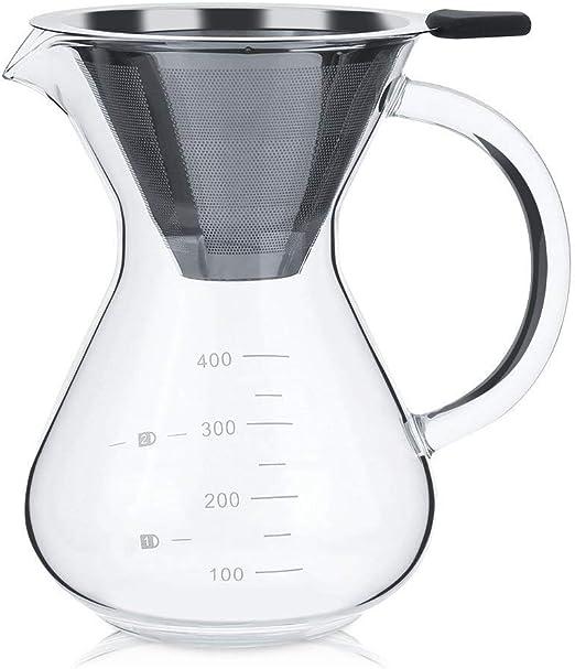 Zleimjab Durable Vaso de Filtro de cafetera de Vidrio con Escala ...