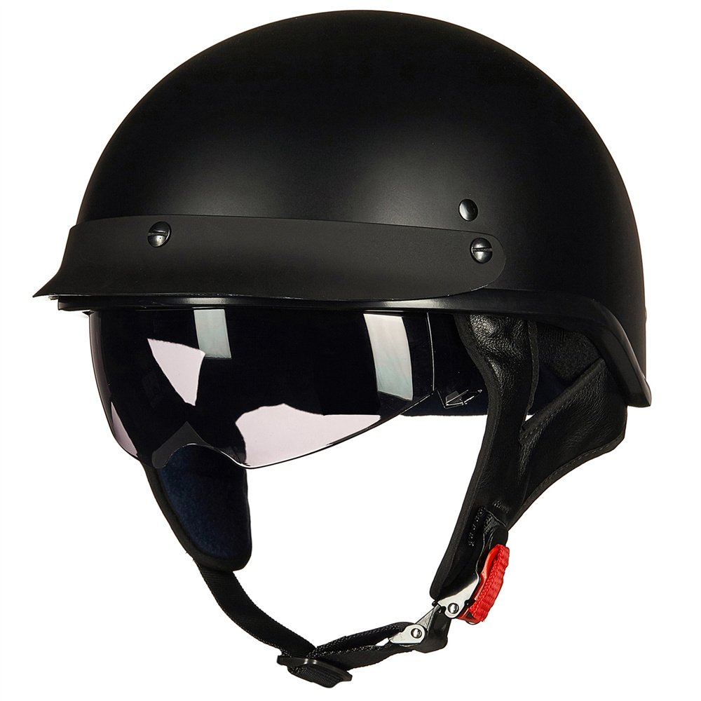 Upgraded ILM Motorcycle Half Helmet With Integrated Sun Visor Quick Release Buckle DOT Approved (M, MATT BLACK) by ILM (Image #3)
