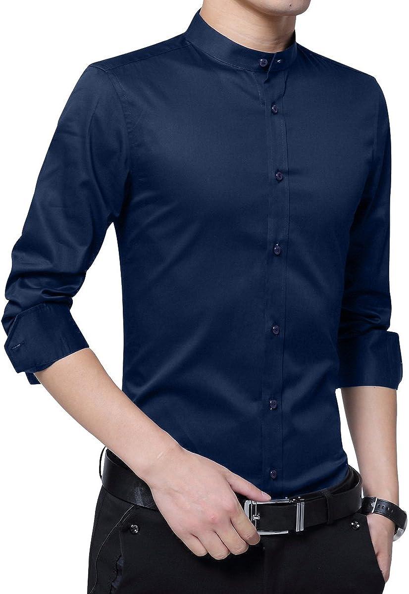 Sliktaa Hemd Herren Stehkragen Slim Fit Langarm Business Hochzeit Formale Shirt Smoking Baumwolle