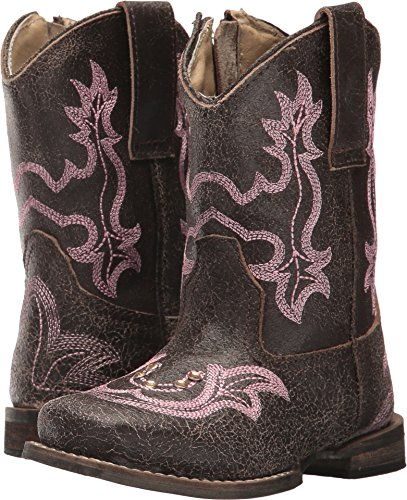 Roper Toddler-Girls' Rhinestone Horseshoe Cowgirl Boot Square Toe Brown 6 D (Roper Horseshoe)