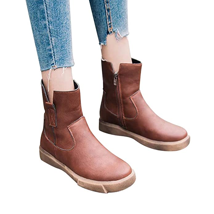 Amazon.com | HYIRI Flat Low Zipper Middle Tube Boots, Womens Leather BootsCasual Shoes Snow Boots | Shoes