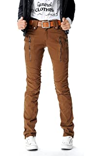 2eed566b8b7f8 AUSZOSLT Women s Double Zipper Combat Cargo Cotton Military Trousers Skinny Pants  Jeans