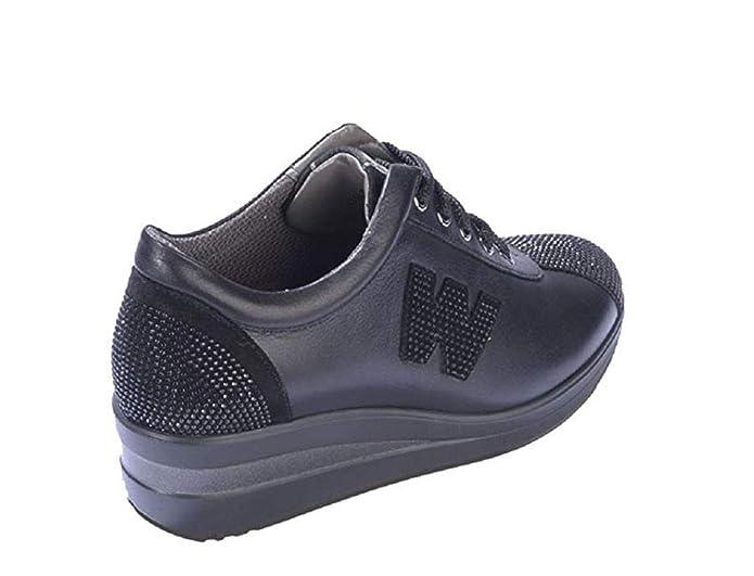 Scarpe R0818 In Donna Pelle Nero Tessuto Sneaker Melluso E YD9W2IEH