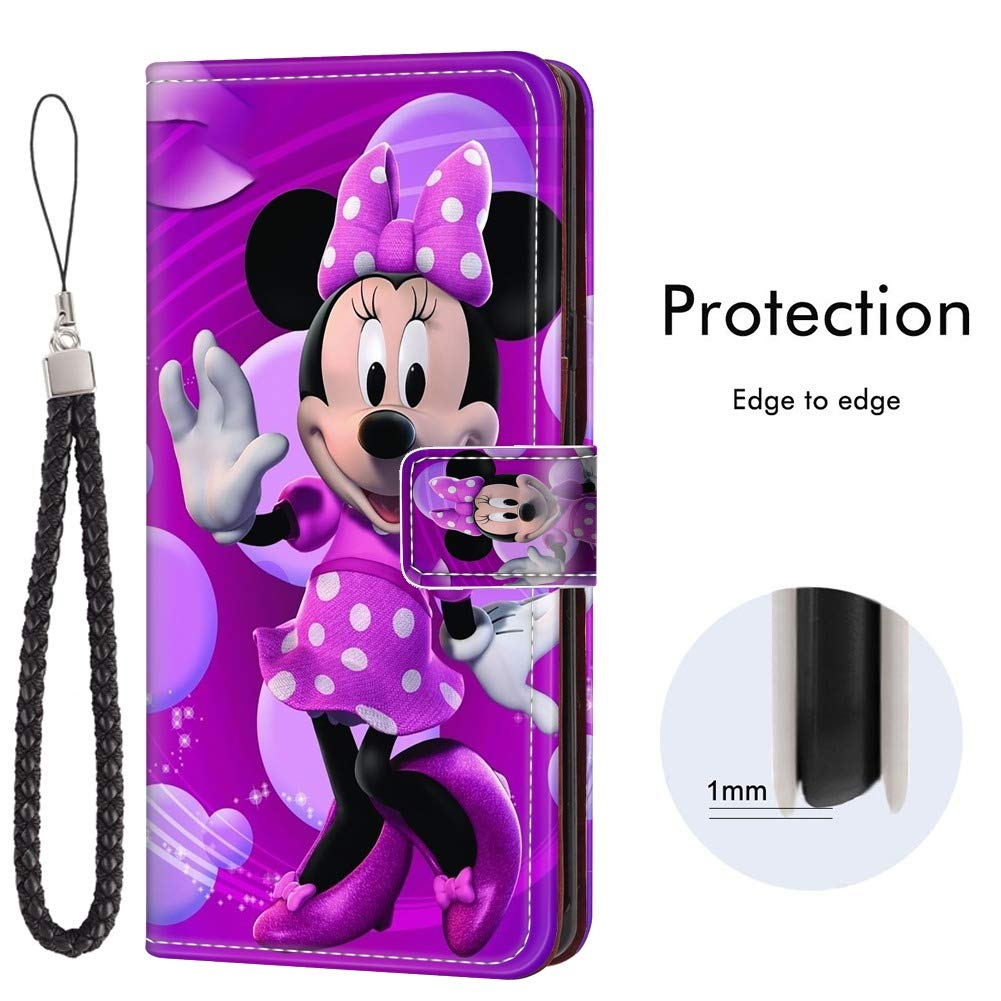 DISNEY COLLECTION Wallet Case for Samsung Galaxy Note 10+ Samsung Galaxy Note 10 Plus 5G Minnie Mouse Cartoon Bow Knot with Kickstand Card Holder and Wrist Strap Folio Flip Wallet Case