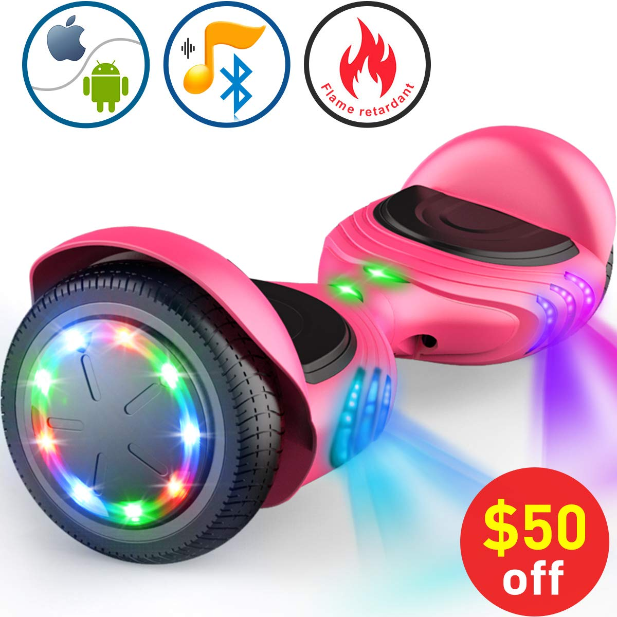 TOMOLOO Hoverboard with Bluetooth Speaker, UL2272 Certified Self Balancing Electric Scooter, 6.5