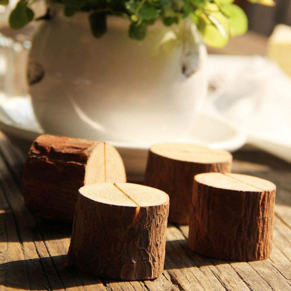 Handfly Name Place Card Photo Menu Holder Table Wood Pile Natural Tree Stump Shape Number Clip Wedding Party Stand Decoration