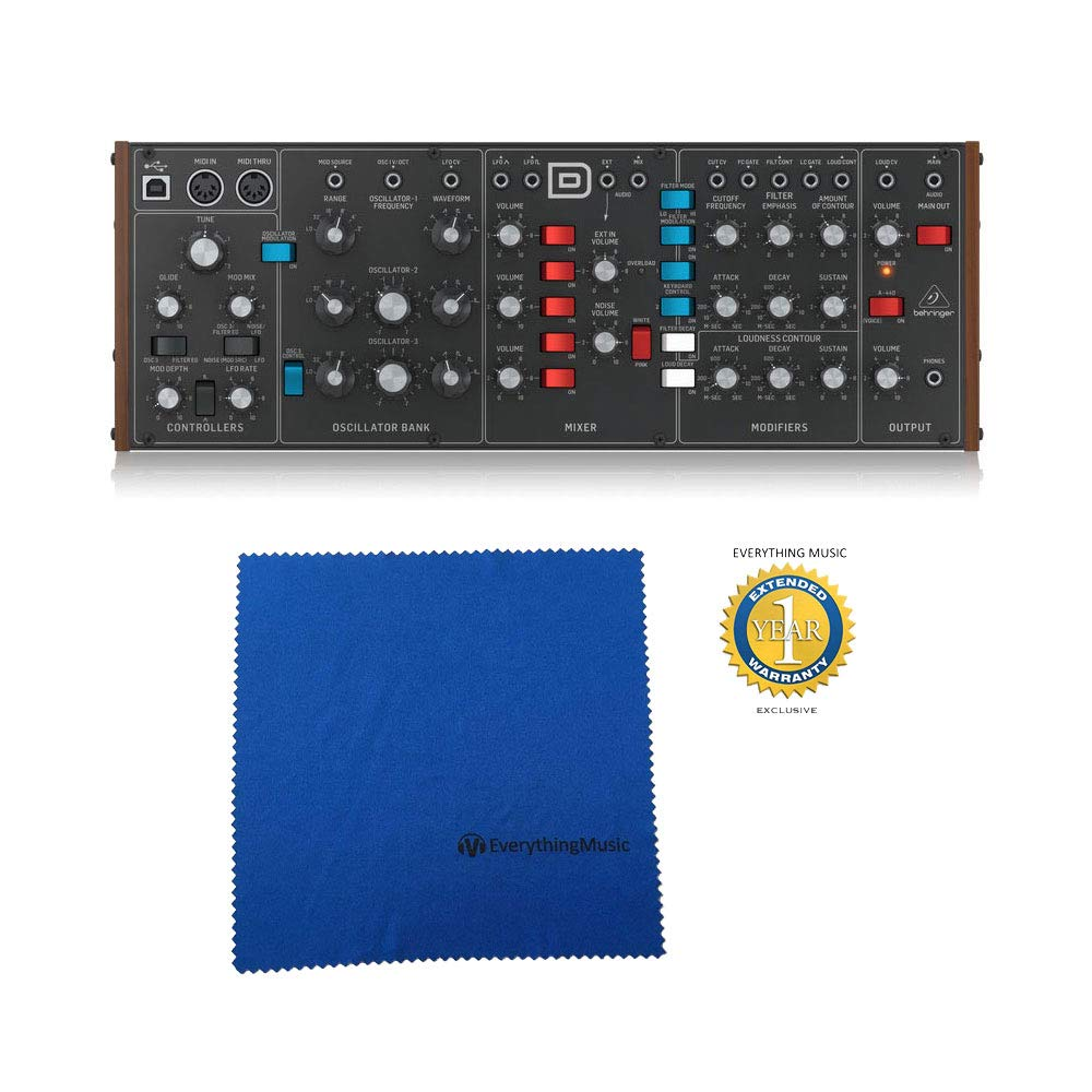 Behringer MODEL D Authentic Analog Synthesizer with Microfiber and Free EverythingMusic 1 Year Extended Warranty