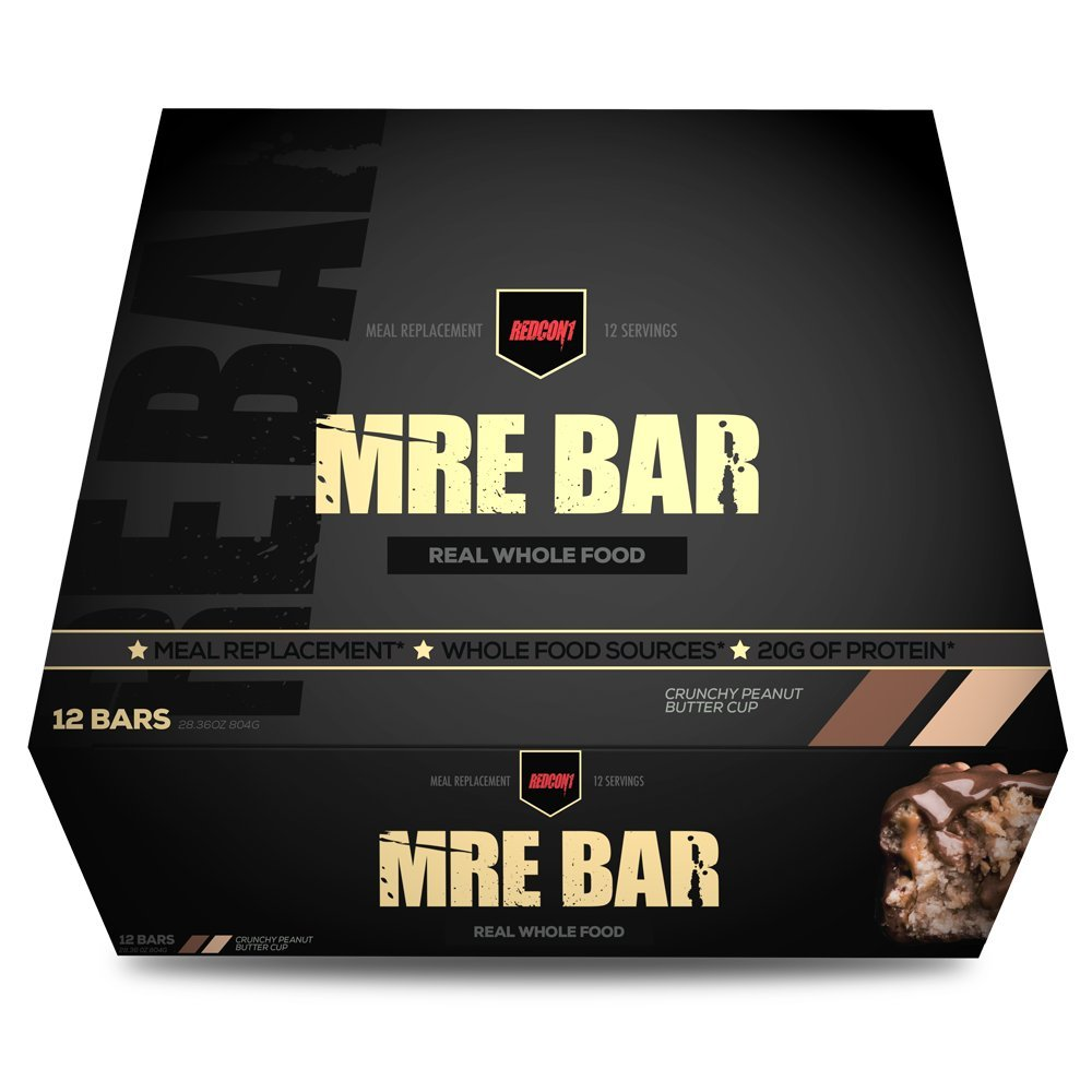 MRE Bar - Meal Replacement Bar (1 Box/12 Bars) Crunchy Chocolate Peanut Butter