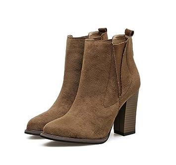 9.5cm Chunkly tacón vestido botas Chelsea botas mujeres punteadas dedo del pie Seude elástico banda