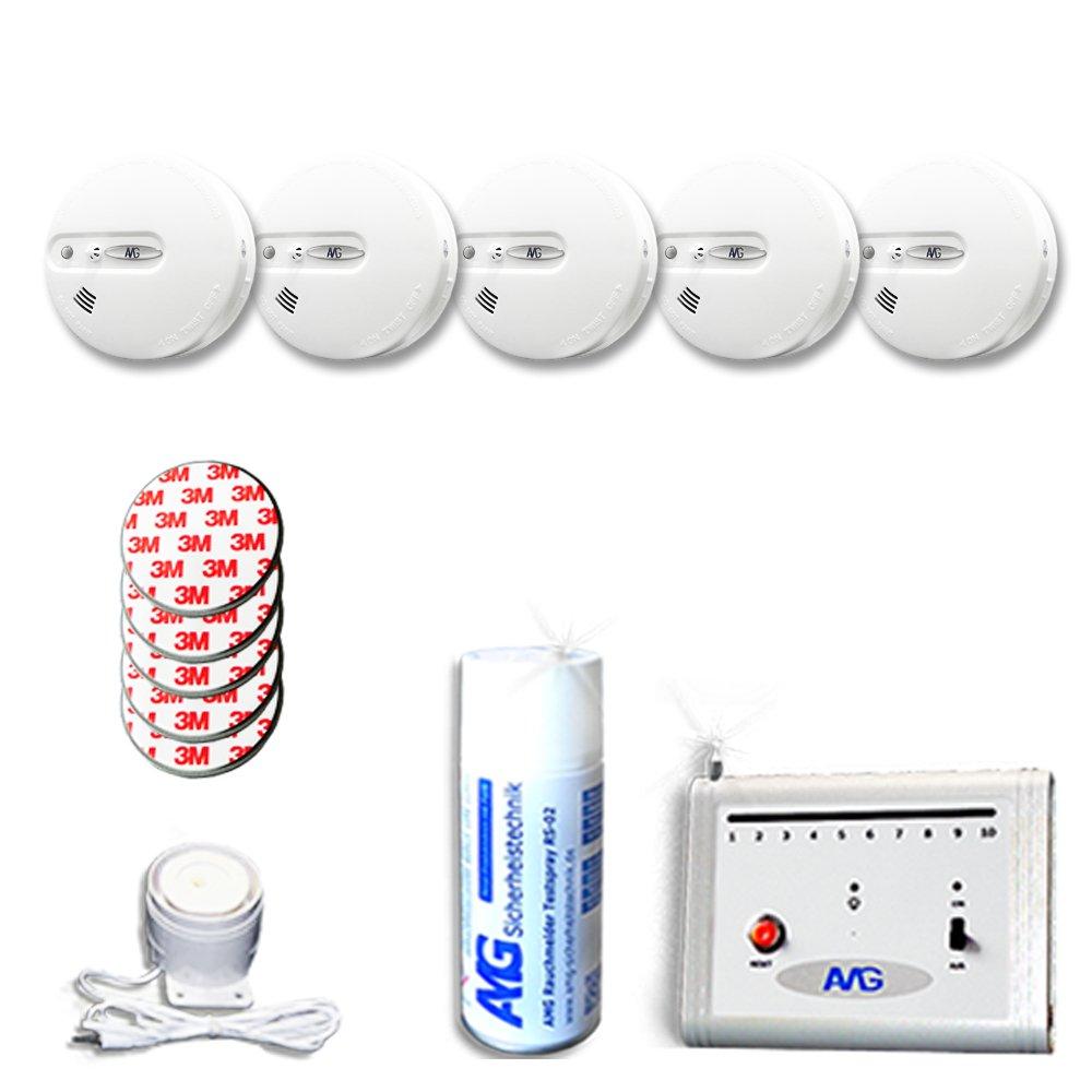 Funkrauchmelder Set mit Kabel-Innensirene Brandmeldesystem 05