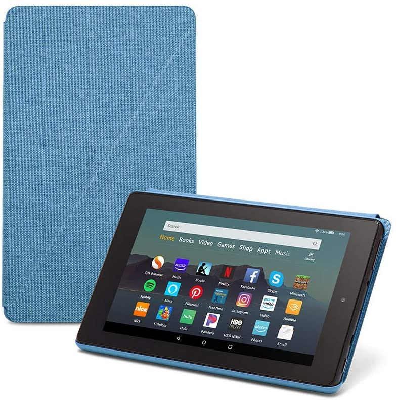 Fire 7 Essentials Bundle including Fire 7 Tablet (Twilight Blue, 32GB), Amazon Standing Case (Twilight Blue), and Nupro Anti-Glare Screen Protector