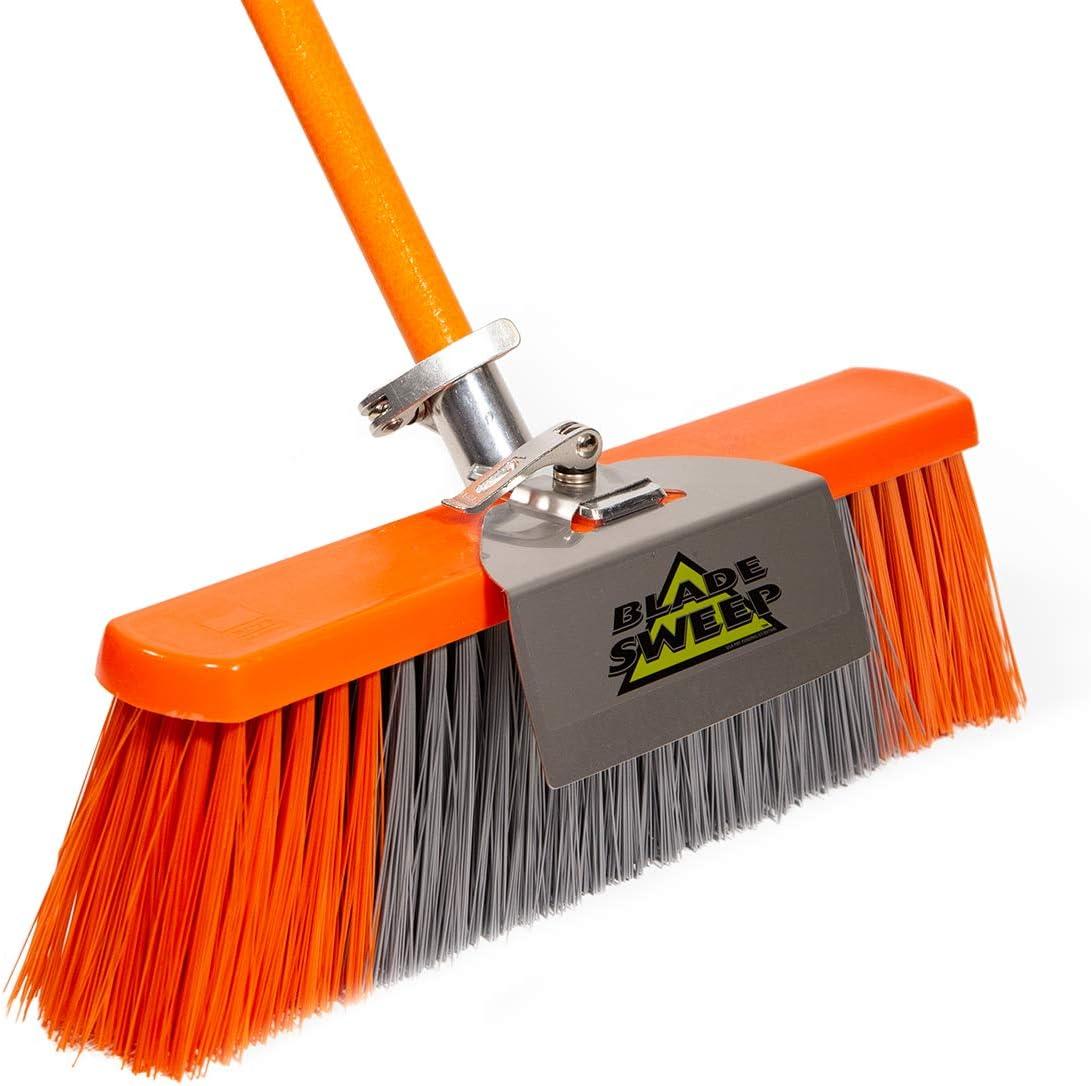 Blade Sweep Push Broom Outdoor Garage Broom 18 Inch Heavy Duty Broom Industrial Broom Fiberglass Broom With Stainless Steel Scraper Kitchen Dining