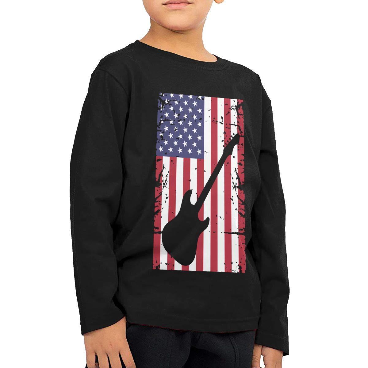 CERTONGCXTS Toddler Guitar American Flag ComfortSoft Long Sleeve Tee