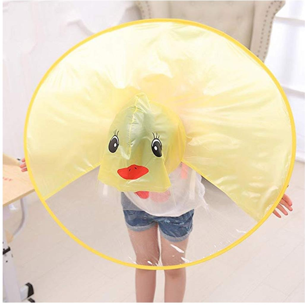 Amazon.com : Longay Kids UFO Round Plate Cartoon Duck Raincoat Hands Free Sessile Raincoat Umbrella for Outdoor (L, Yellow) : Sports & Outdoors