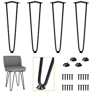 "ELICIT 18"" Black Metal Industrial Hairpin Legs, Set of 4 with 1/2"" Heavy Duty Steel Rod, Fit DIY Furniture, Coffee Table, Night Stand and Bench"