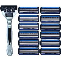 Fangfeen 1pc White Razor Holder 12pcs Sharp Stainless Steel 6 Layers Men Beard Shaver Shaving Blades