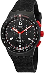 Swatch Originals Stand Hall Black Dial Silicone Strap Mens Watch SUSB411