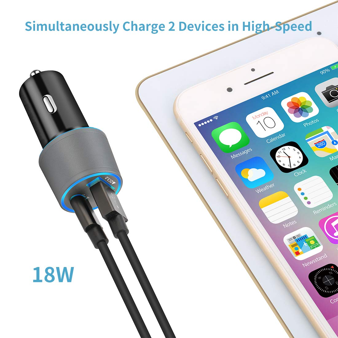 Compatible Google Pixel 3 XL//3//2//2 XL//XL//C 18W Power Delivery and Quick Charge 3.0 Fast Charging Car Adapter ChiRui CC003 Rapid Type C Car Charger USB C PD Car Charger with 3.3ft Type C Cable