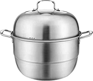 NBBB Steamer Pan Set Stainless Steel Steamer Pot Induction Hob Gas Universal Stock Pot for Cooking 1216 (Color : 2 Tier, Size : 30cm)