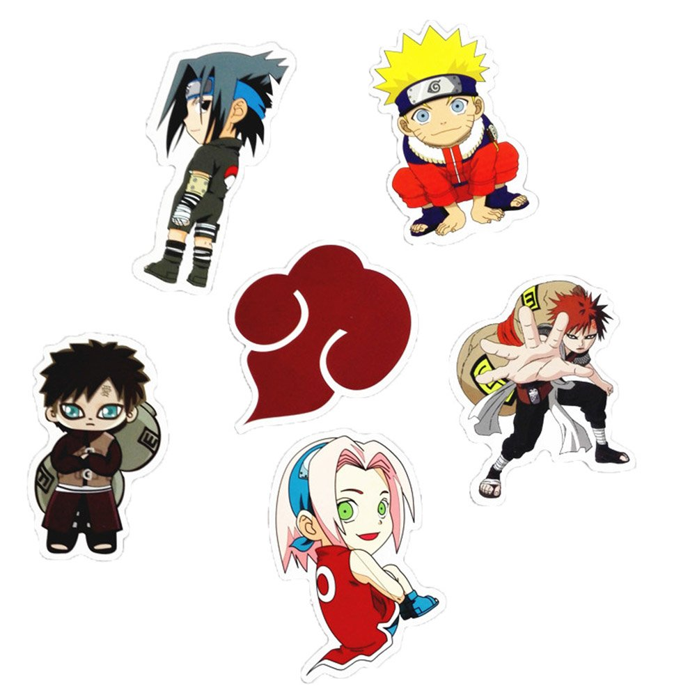 Amazon com auxsoul 6 pcs waterproof naruto stickers anime decal vinyl sticker for laptop macbook luggage skateboard computers accessories