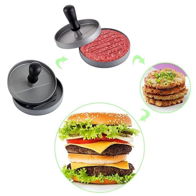 Compra Prensa para hamburguesas, hamburguesera eléctrica, utensilio de cocina para prensar carne, antiadherente, aluminio, para una hamburguesa, ideal para ...