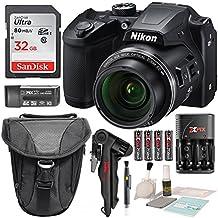 Cámara digital Nikon COOLPIX B500 con tarjeta de memoria SDHC de 32 GB y accesorios deluxe con juego de limpieza.