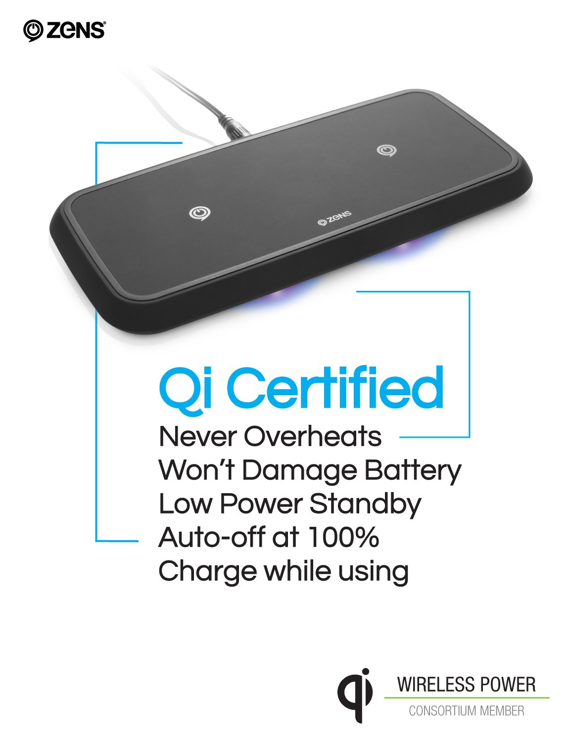 ZENS Wireless Charging Pad | Dual Qi Charger Pad with 2X 15 Watt Power Output | Compatible with Apple iPhone 8/8 Plus/X/XR/Xs Max, Samsung Galaxy S10 and Airpods 2 | Includes AC/DC Adapter | Black by ZENS (Image #6)