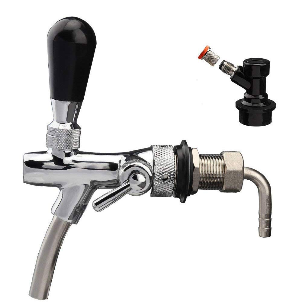 OneBom 2 IN 1 Beer Tap, with Flow Control, Black Handle Lever & Liquid Ball Lock Post (2