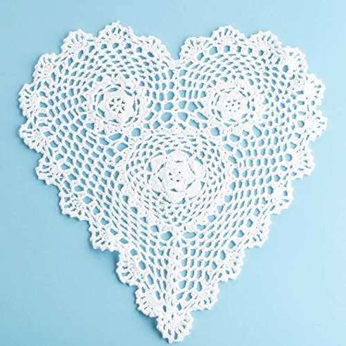 "12"" White Cotton Hand Crocheted Heart Lace Doilies, Set of 2"